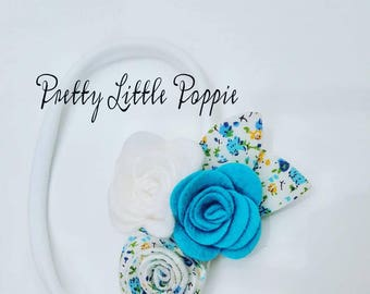 Pretty blue and white floral rose headband