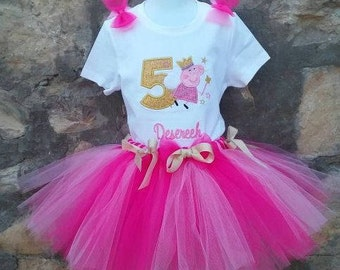 Personalized Embroidered Peppa Pig Shirt and Tutu
