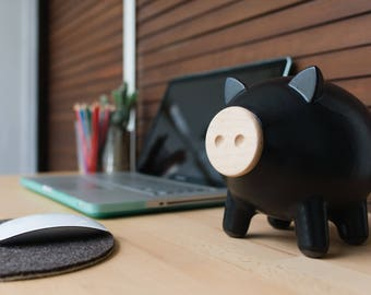 Black matte piggy bank, ceramic piggy bank, large piggy bank, office, Home decor, Contemporary design, housewarming gift, gift for him, PIGZ