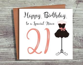 Birthday Card, 21st Birthday Card, Niece Card, Any Age, Any Relation