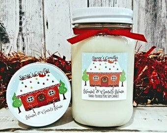 Soy Candle - 16oz Candle - Container Candle - Mason Jar Candle - Holiday Candle - Christmas Candle - Gingerbread Candle - Scented Candle