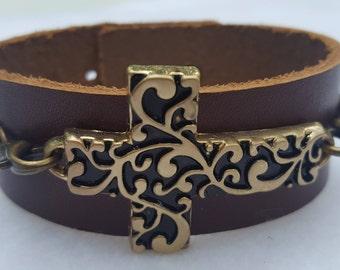 Cross Leather Cuff Bracelet