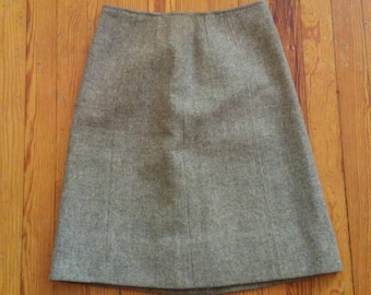 50s 60s Gray Wool Pencil Skirt