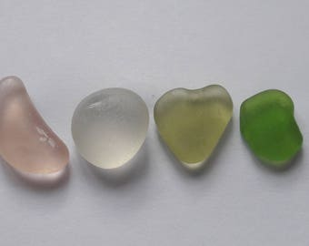 Special Valentine's day! 4 French LOVE sea glass / sea glass french