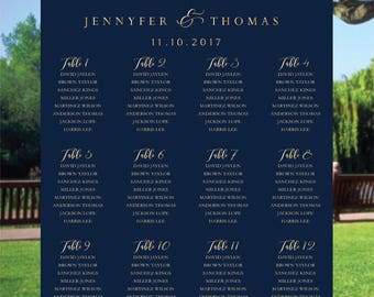 PRINTABLE Wedding Seating Chart, Wedding Seating Chart, Wedding seating template, Navy seating chart, Seating chart, Find Your Seat SC64