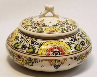 Art Deco Delft Polychrome Lidded Trinket Bowl Decorated with Flowers & Signed