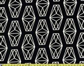 Cotton + Steel Black and White, Lanterns in Black, Black and White Fabric, Lantern Print, Geometric Abstract, Cube Fabric, White Diamond