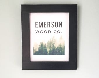 Black Picture Frame / Wood Wall Decor for Boyfriend, Husband / 16X20, 12X16 Photo Frame with Glass / Hand Painted Frame / Office Wall Art