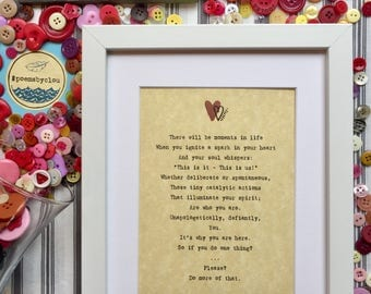 "Original ""Moments"" PoemsbyClou Print in Frame"