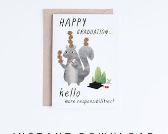 Graduation Card Printable, Funny Graduation Cards Instant Download, Happy Graduation, High School Graduate, University Grad