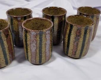 6 Vintage Earthenware Sake/Tea Cups made in Japan New Old Stock