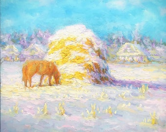 Original oil painting winter countryside landscape classical fine art unframed artwork home living room fireplace decor snow horse village