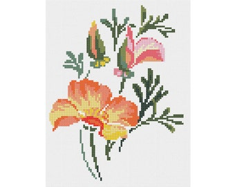 PDF Fancy Floral Composition cross stitch embroidery Pattern// Flowers cross stitch Pattern