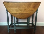 Vintage Antique Oval Oak Gate Leg Table  Solid Rustic Drop Leaf Console Table
