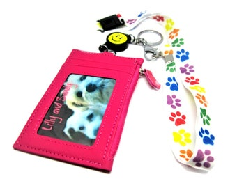 ID HOlder Lanyard-Paw Print Dog Lover Gift, Dog Mom Gift-Paw Print- Animal Lover-SJO Handcrafted