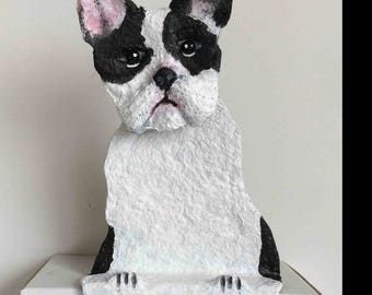 Boston terrier, paper mache and acrylic.