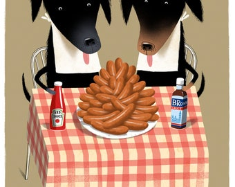 Limited edition Giclée print of dogs eating sausages. Signed by illustrator Simon Cooper