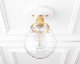 Glass Globe Light - Semi Flush Ceiling Lamp - Glass Pendant Globe - Modern Gold Fixture - Hardwired Lights