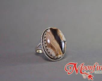 Peanut Wood Jasper Oval Jagtooth Sterling Silver Ring SS-004