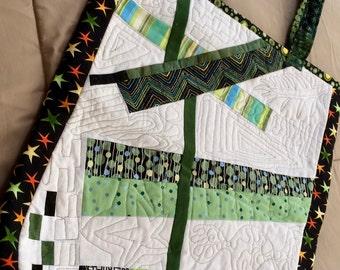 Patchwork tote, quilted shoulder bag, handmade patchwork bag