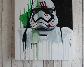 Star Wars Finn (FN-2187) Stormtrooper Painting - Original one of a kind hand painted on canvas
