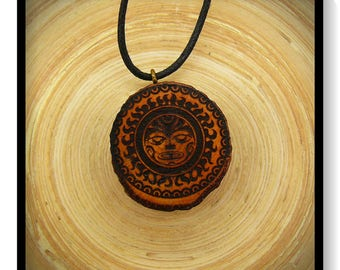 "Soul slices ""Maori, Polynesian, Tiki 5"" wood necklace, vintage * Ethno * hippie * MUST have * statement *"