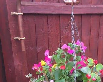 Hanging basket bracket, copper pipe bird feeder hook, industrial, garden accessory, copper bracket