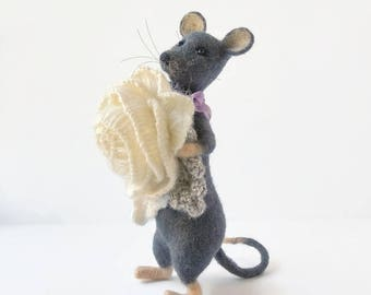 Fabric Mouse with flower Soft mouse toy Needle felted mouse Handmade felt toy Holiday figure Mouse gift eco toy Mouse collector Mouse lover