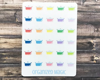 Cooking pots planner stickers, cooking stickers, meal stickers