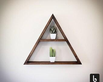 Triangulum Triangle Wall Shelf by Bobincraft - Wood Rack - Wooden Wall Decor - Wallnut Large Wall Shelves - Geometric Shaped Handmade 2 tier