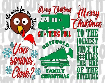 National Lampoon CHRISTMAS Vacation - Set of 5 SVG- Clark Griswold movie quotes - clipart - cut file - vector -Griswold Family Vacation -