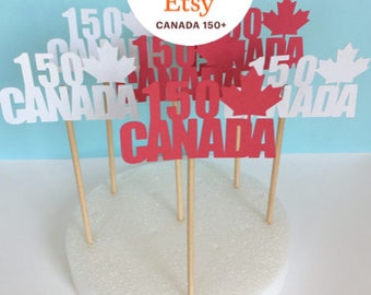 CANADA 150 Cupcake Toppers! Pack of 6! Red and White Canada Day Toppers!