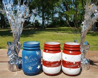 4th of July American Flag Mason Jars