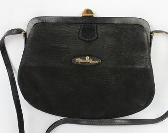 Vintage ETIENNE AIGNER black Nubuck leather clutch bag numbered very good condition 2082