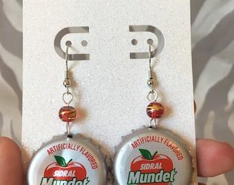 Recycled Bottle Cap Earrings- Mexican Apple Soda