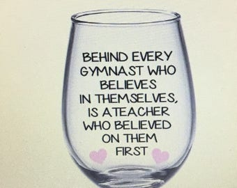 Gymnastics wine glass. Gymnastics team. Gymnastics gift. Gymnastics coach gift. Gymnastics teacher gift.