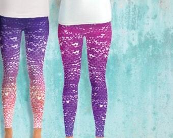 Mermaid Leggings, plus size leggings, plus size clothing, XS-4XL, extra large, XL, Pink  mermaid costume, fish scale leggings, rainbow