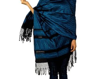 """Mexican Rebozo Scarf  """"Estrellita Azul"""" - handwoven"""