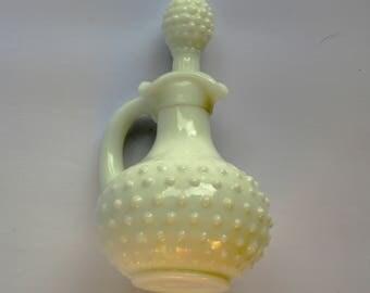 Vintage Avon Milkglass Potions bottle,  white bottle with stopper