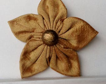 Hair Clip Gold Silk Fabric Flower Kanzashi