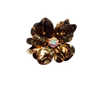 Vintage Large Antique Gold/Bronze Toned Flower Brooch w/ Aurora Borealis Rhinestone Center