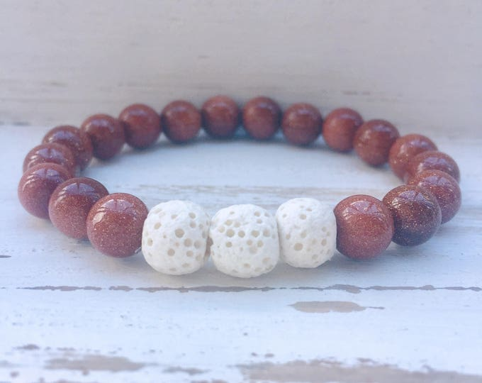 White Lava Rock and Gold Sandstone Beaded Diffuser Bracelet for Essential Oils