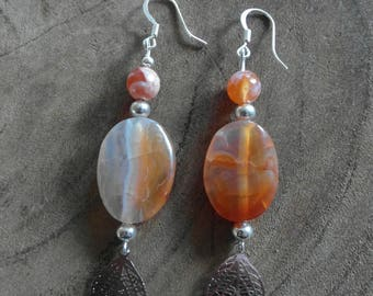 Orange/red gem earrings