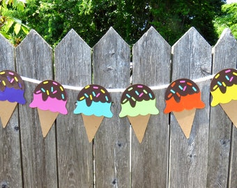 Ice Cream Cone Garland, Ice Cream Cone with Sprinkles, Ice Cream Cone Banner, Rainbow Ice Cream, Ice Cream Birthday