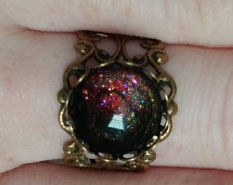 Celestial Dust, antique bronze ring