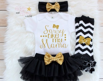 Baby Girl Shower Gift Baby Girl Clothes Baby Girl Outfit Coming Home Outfit New Mom Baby Gift Take Home Outfit Sassy Like my mama G1B