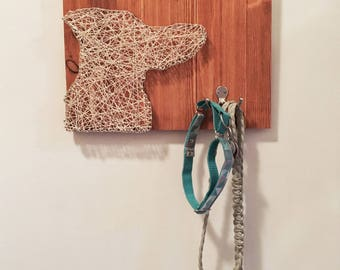 CUSTOM Dog Silhouette Wood String Art Collar & Leash Holder