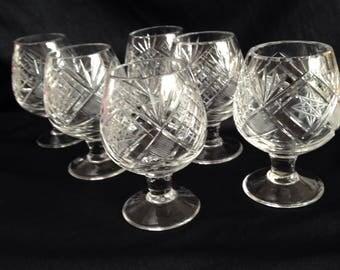 6 beautiful old English Crystal Brandy/cognac glasses.