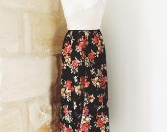 Boho retro style vintage floral skirt