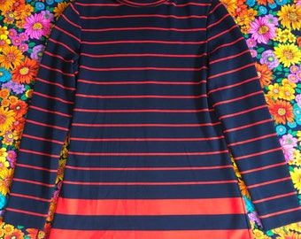 Vintage Navy Blue and Red Striped Long Sleeve Mod Turtleneck Shirt